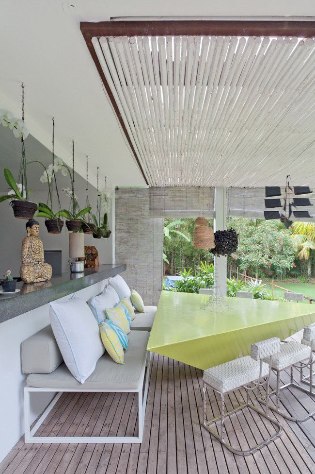 """Outdoor area """"We entertain a lot, it's a very open house,"""" says Valentina of her alfresco entertaining... ( Modern tropical house on Bali Island, Indonesia )"""