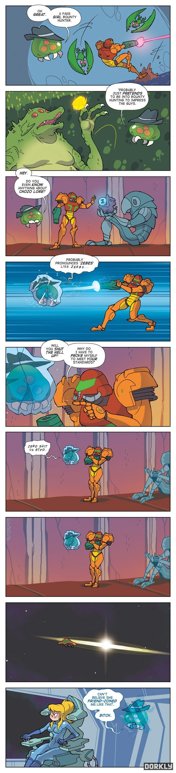"Samus. Remember when I found out she was a woman, when the suit came off in the game, I was a kid at the time.  ""what? It's a girl? ... Cool"""
