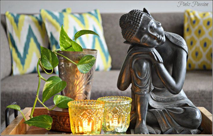 Buddha decor, Buddha, interior styling, coffee table decor, lassi glass, on the coffee table, global decor
