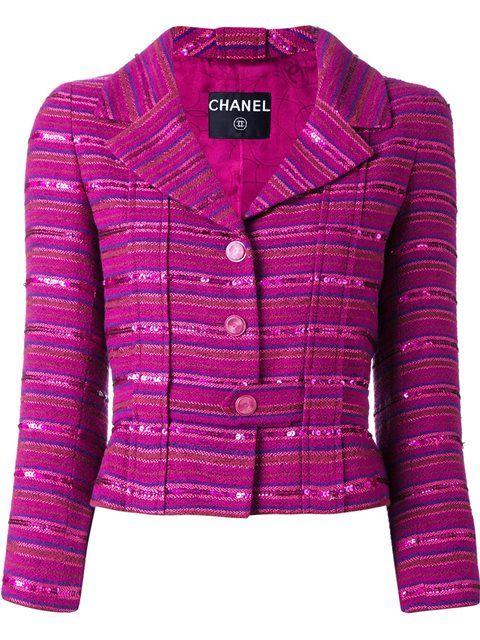 Chanel Vintage блесток украшено полосатый пиджак