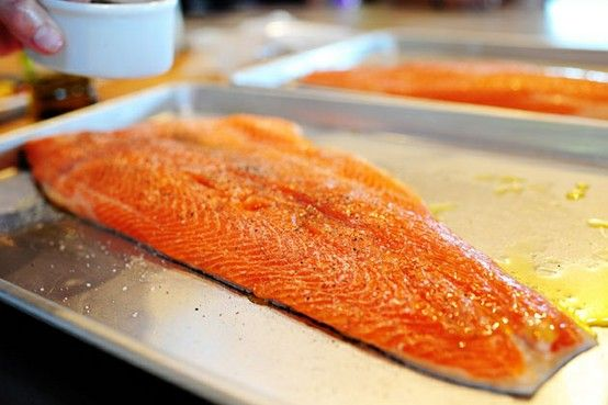 put it in a cold oven, then turned on the heat to 400 degrees. Twenty-five minutes later, the salmon was absolutely perfect. Tender, moist, flaky.  serve with veggies.