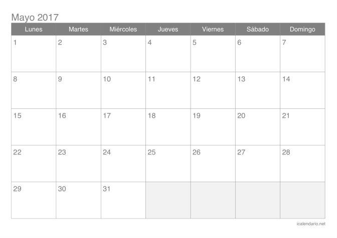 Calendario de mayo 2017