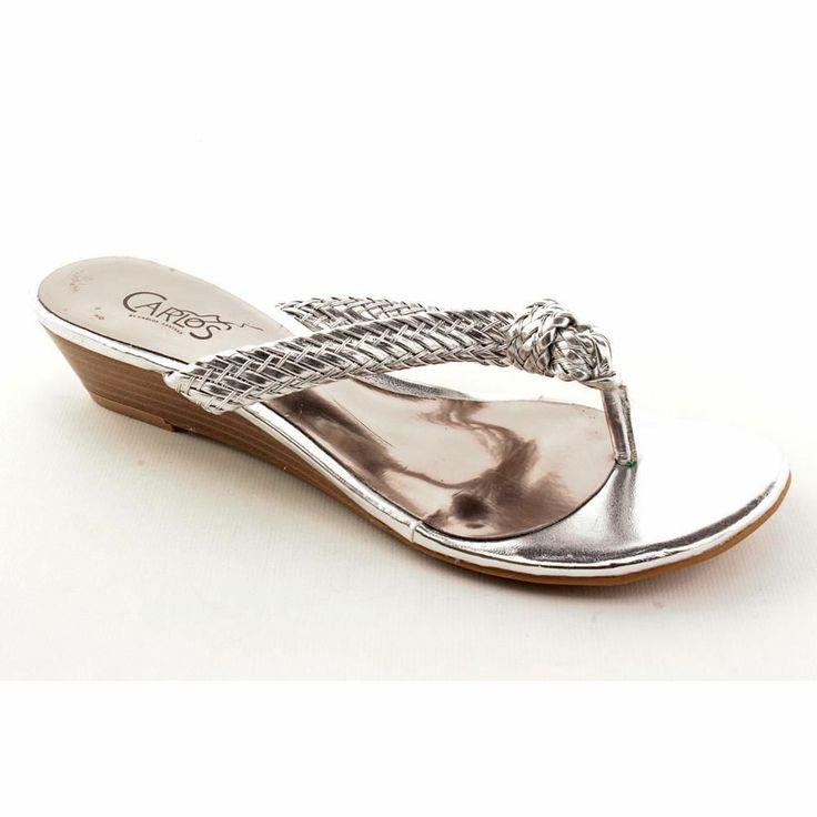 Carlos Santana Catalina Womens Size 5.5 Silver Wedge Sandals Shoes New/Display