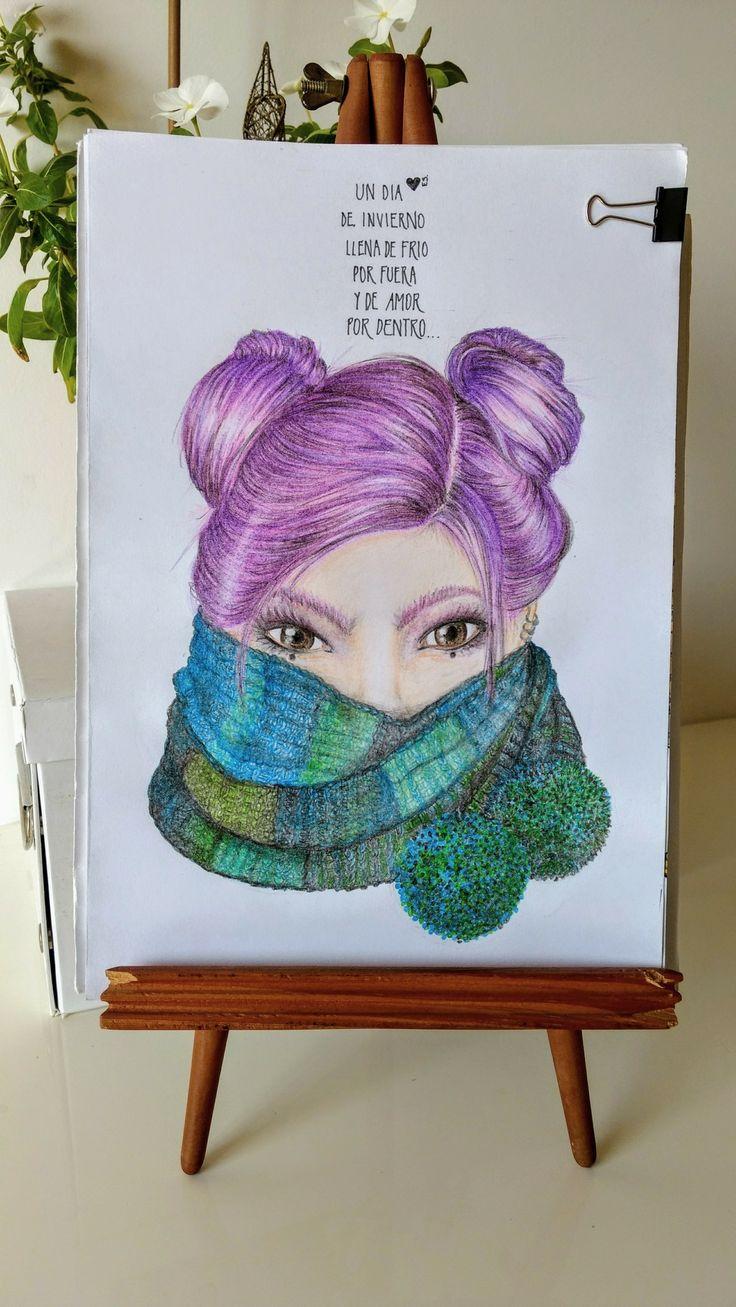 """""""Un día de invierno llena de frío por fuera y de amor por dentro"""" Fragmento de poema de Elvira Sastre + ilustración a lápiz. MLz"""