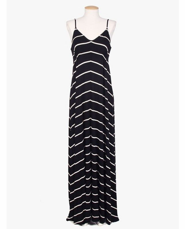 Black & White Thin Striped Maxi Dress | 27 Boutique Eight Sixty's best selling maxi dress, as seen on Halle Berry, Sandra Bullock, & Selma Blair, is back in a new black & white striped print!