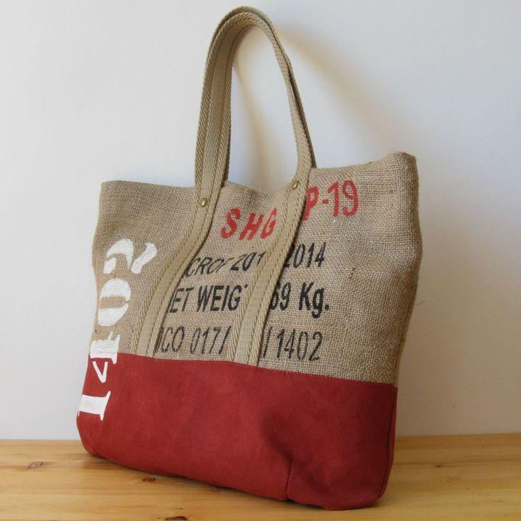 OJALÁ | Burlap & Suede Tote Bag. Bolso grande de arpillera y antelina…
