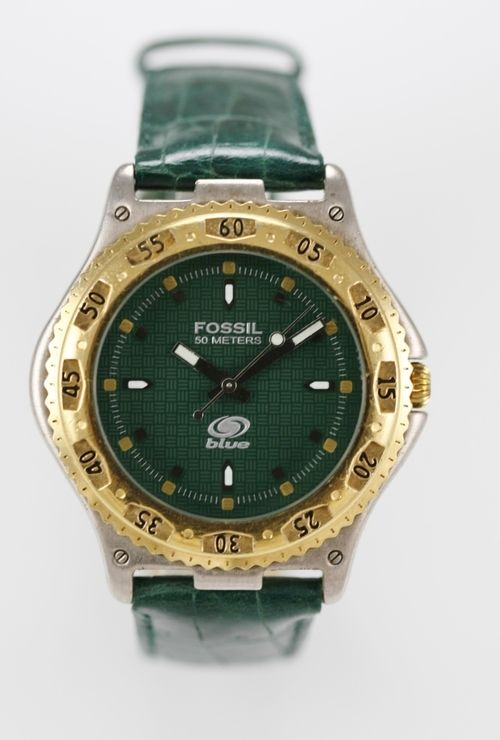 Fossil Blue Watch Mens Green Leather 50m Battery Stainless Silver Gold Quartz