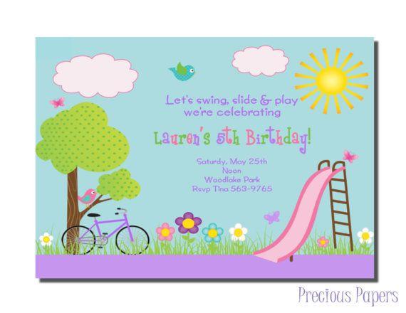 Park Party Invitations Park Birthday Party by mypreciouspaper, $12.50