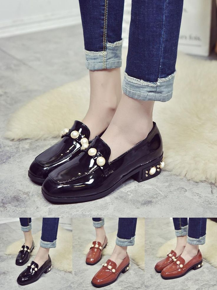 [Visit to Buy] Spring New Brand Women's Shoes Square Toe Single Shoes Woman Patent Leather Shoes Elegant Pearl Shoes Low Heels Ballet Flats #Advertisement