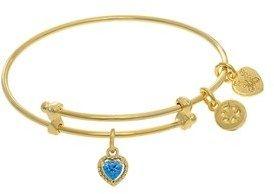Angelica December Heart Shape Cz Birthstone Charm Expandable Tween Bangle Bracelet.