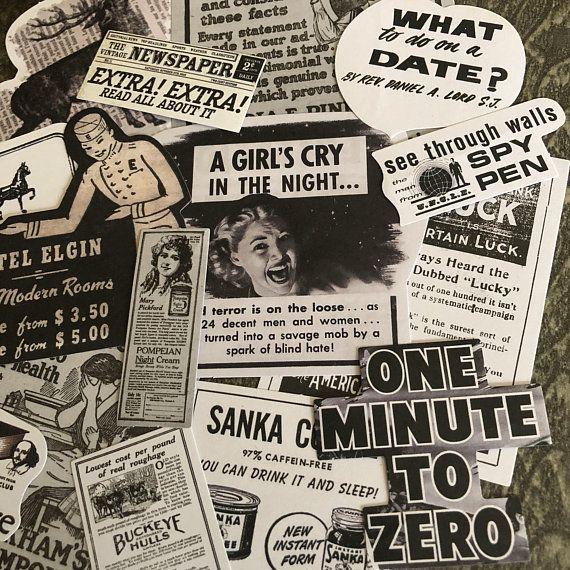 15pcs Vintage Advertisement Stickers Newspaper Retro Women Etsy Vintage Advertisement Vintage Newspaper Matte Sticker Paper