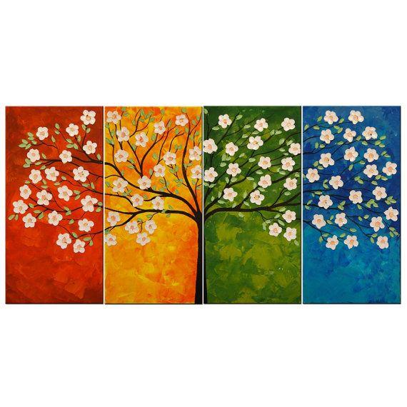 Original modern painting Blooming Cherry Tree by FlowerArtPainting