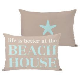 """Tan lumbar pillow with an aqua and white typographic motif and a starfish detail on the back.  Product: PillowConstruction Material: Polyester cover and premium polyester down alternative fillColor: Tan, white and aquaFeatures:  Zipper closureMade in the USAInsert included Dimensions: 14"""" x 20""""Note: Price is for one pillow. Image depicts front and back of pillow.Cleaning and Care: Cover is machine washable"""