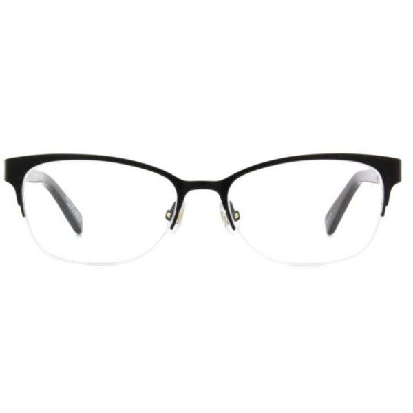 Kate Spade New York Valary Women's Eyeglasses ($219) ❤ liked on Polyvore featuring accessories, eyewear, eyeglasses, black, semi rimless glasses, kate spade eyewear, rectangle glasses, black eyeglasses and kate spade glasses