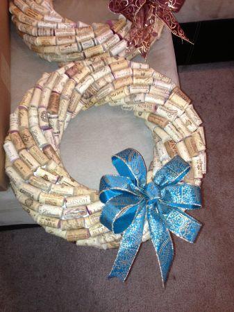 """Wine Cork Wreaths 12"""" $35 ~ 16"""" $45"""