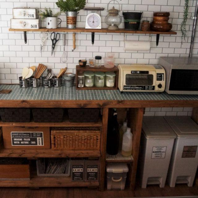 macaさんの、インダストリアル,男前,タイル風の壁紙,自作キッチンカウンター,DIY,壁紙はりかえ,キッチン,のお部屋写真