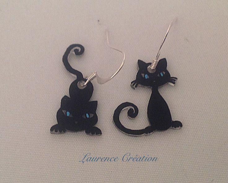 сумасшедшие пластиковые серьги черные кошки с голубыми глазами. : серьги…