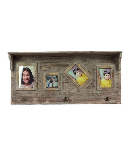 Natural Wood Shelf Wall Hook/Picture Frame