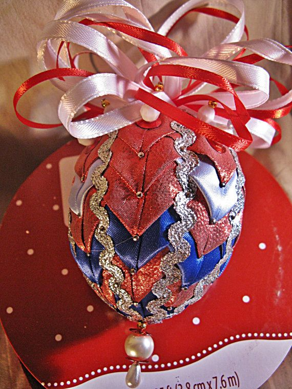 Christmas Ornament Red white Blue Silver Egg by WindDanceStudio, $17.00