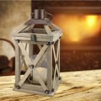 Brown Candle Operated Wooden Lantern, Natural