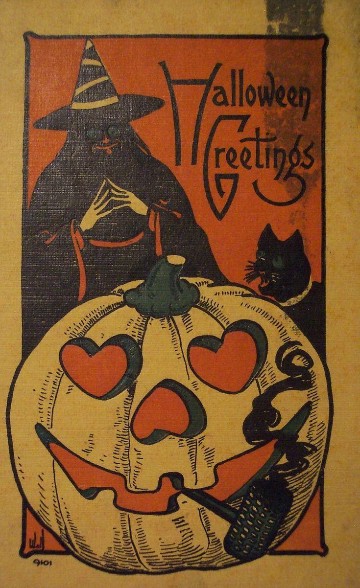 Beatnik warlock is plotting something. Hallowe'en vintage postcard.