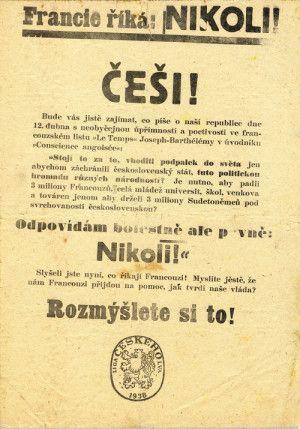 Nacisté se po anšlusu Rakouska pokusili znejistět odhodlání čs. vlastenců bránit ohrožený stát. Za tím účelem nechali vytisknout značné množství letáků, signovaných vyfabulovanou českou organizací Liga českého lva. Na veřejné mínění v Československu tato akce neměla vliv. Gramatické a stylistické chyby i celkové provedení letáků svědčí o diletantismu jejich tvůrců. FOTO: Archiv VHÚ