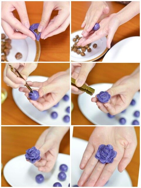 How to: ช่อม่วง (Chor-Muang) Thailand dessert Steamed flower shaped dumpling stuffed Natural purple color from Butterfly pea. made in Thailand only.