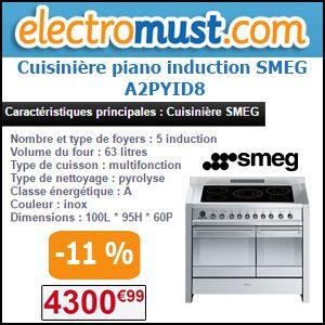 #missbonreduction, Réduction de 11 % sur la Cuisinière piano induction SMEG A2PYID8 chez Electromust. http://www.miss-bon-reduction.fr//details-bon-reduction-Electromust-i41-c1826131.html