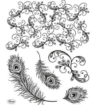 Viva Decor Clear Stempel - Peacock Feathers