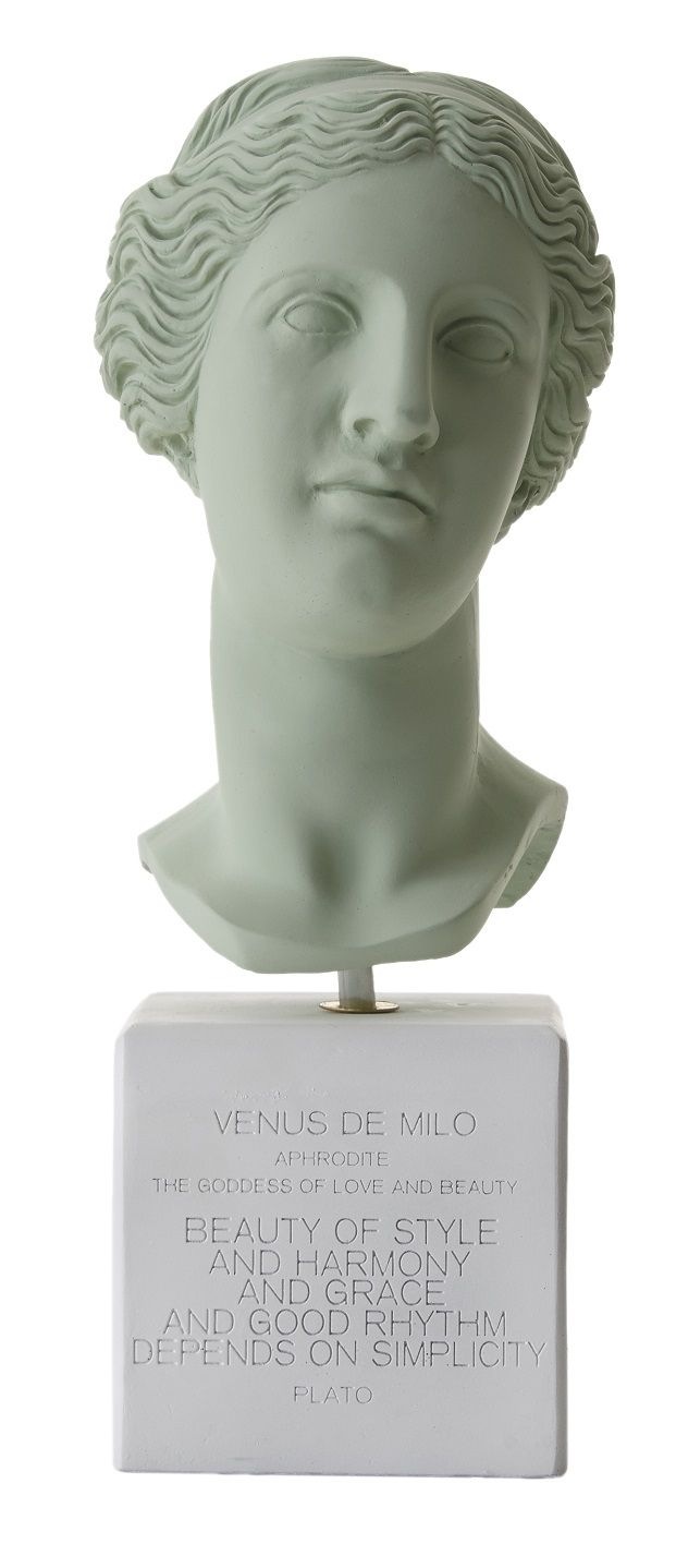 Venus Bust. Statue. Material 100% Ceramine. Color: Vintage Green.