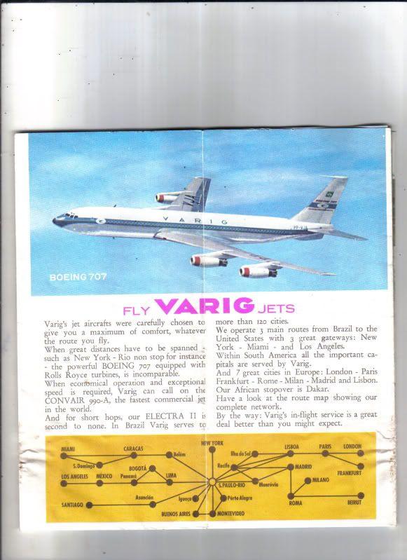 Vintage Varig Airlines Route Map