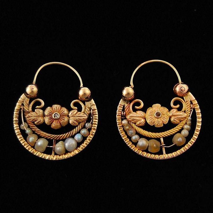 Antique Mexican Gold Hoop Earrings Diamonds Pearls