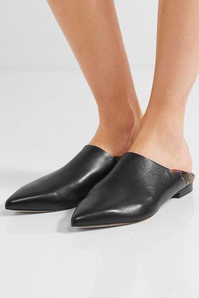 3.1 Phillip Lim - Babouche Floral-print Leather Slippers - Black - IT