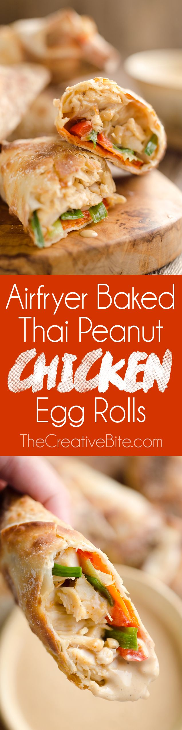 Airfryer Baked Thai Peanut Chicken Egg Rolls are a light and healthy recipe made in your Airfryer or oven. Chicken is tossed with creamy Thai peanut sauce, carrots, red peppers and green onions and rolled in crispy egg roll wrappers for a flavorful dinner you can make in less than 20 minutes. #Airfryer #EggRolls #ThaiPeanut