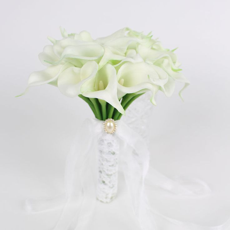 White Lace PU Calla Lily Artificial Wedding Bride Flower Bouquet Home Decor   eBay