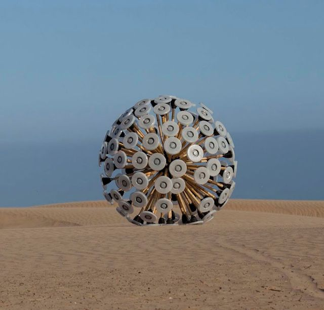 Designed by Afghan Massoud Hassani, to detonate land mines in his hometown, where 1000s of Soviet landmines remain. The GPS-integrated Mine Kafon Ball rolls over mines like a giant tumbleweed. The ball explodes when a mine is discovered, a much smaller sacrifice than a human life.