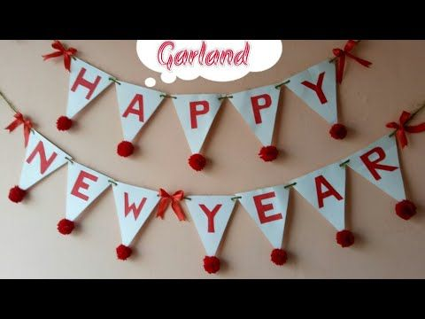 diy happy new year garlandnew year decor ideamaking banner for new year