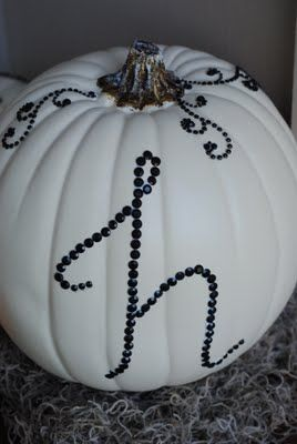 Making Lemonade: DIY Halloween Decor: Sequined Pumpkins // monogram jewelled pumpkin, she also suggests trying puffy paints instead of sequins & beads