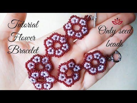 Beaded flower bracelet (only seed beads) - tutorial - YouTube