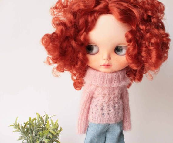 Pink mohair Blythe sweater, Mohair jumper for 1/6 scale doll, Pink mohair clothes for 12 inch doll, Pink sweater with long sleeve