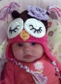 Baby Toddler Girl Crochet Hot Pink Sleepy OWL Hat by shayahjane, $24.99