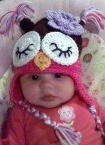 Baby Toddler Girl Crochet Hot Pink Sleepy OWL Hat by shayahjane, $24.99
