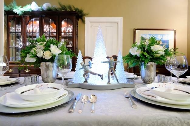A winter wonderland dining table centerpiece for Christmas.   Photo by Gary Chan and Eric Tsui from EpicFocus Photography