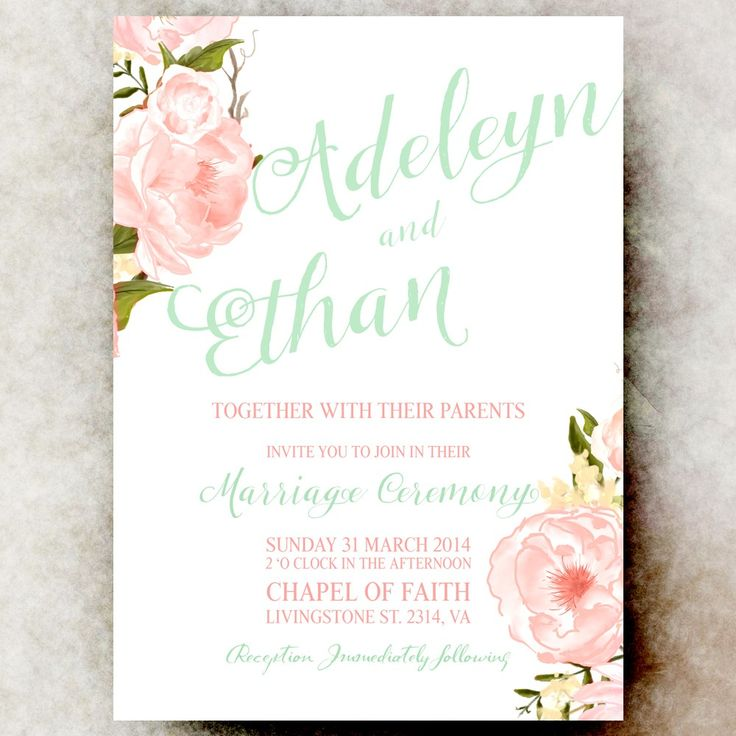Coral Mint Green Wedding Invitation - Floral wedding invitation, Printable Invitation, country wedding invitation via Printable Wedding Invitations by Divine Charm Digital. Click on the image to see more!