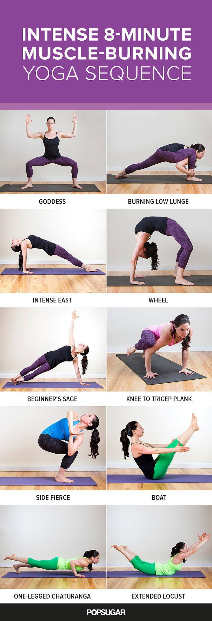 These yoga poses are not for wusses! Get ready to feel the burn instantly with this eight-minute sequence that's designed to burn every major part of your body.