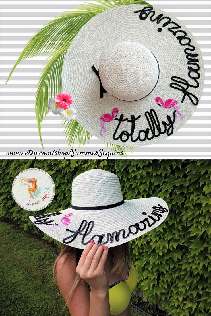 101a2a96 Hit the beach in style with our new Totally Flamazing hat! 💕👒 Shop on Etsy!  #summersequins #totallyflamazing #flamazing #summerhat #customhat ...