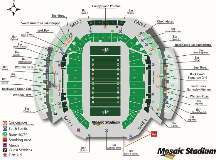 """Concession Map - Saskatchewan Roughriders , OMG ... do ya think there is enough """" bar """" locations at the stadium ...."""