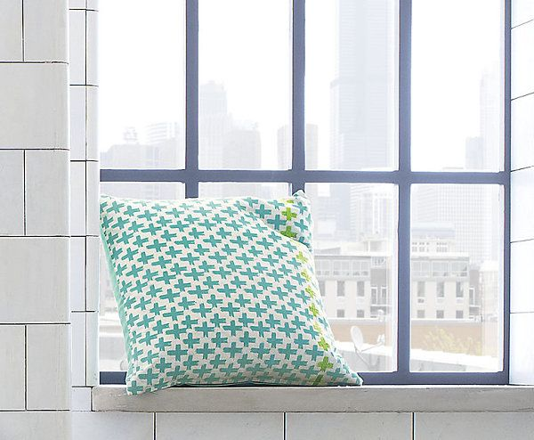 Beautiful Fabric Patten In Pillows Design : Innovative Green Plus Sign Pillow Pattern As Simple Room Also Interesting City View Near It