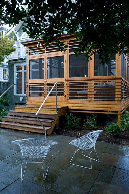 Screened porch, backyard.