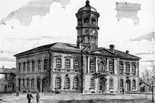 Guelph Town Hall (built 1856) (pictured in 1879, the year the town became a city)
